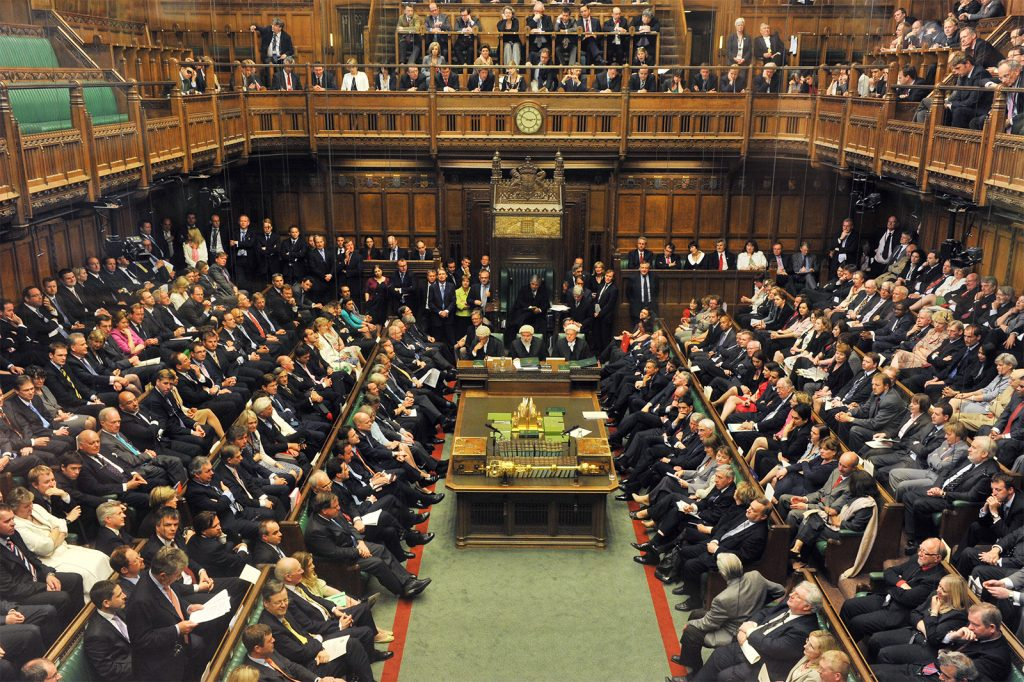 A picture of the House of Commons, the UK parliament.